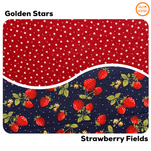 Strawberry and golden stars print