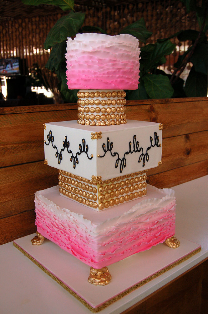 White  Pink   Gold Ombr     Wedding Cake     HUASCAR   CO  BAKESHOP White  Pink   Gold Ombr     Ruffle Wedding Cake