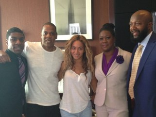Beyonce and Jay Z with the parents of Trayvon Martin