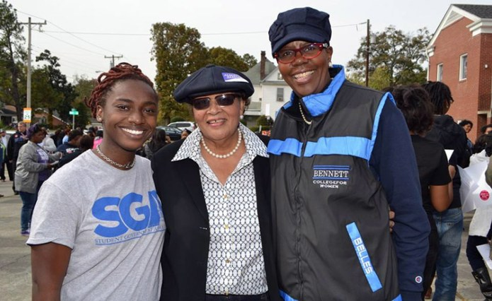 """Student Government Association President Alexis Anderson, Retired Bennett College Professor and Congresswoman Alma Adams and President Rosalind Fuse-Hall participated in the """"March to the Polls."""""""