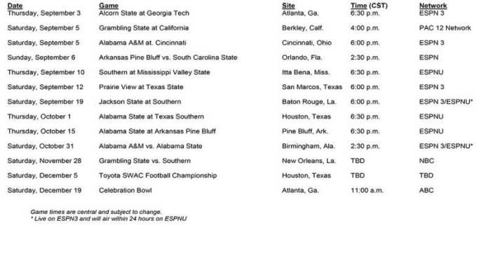 SWAC-TV-schedule
