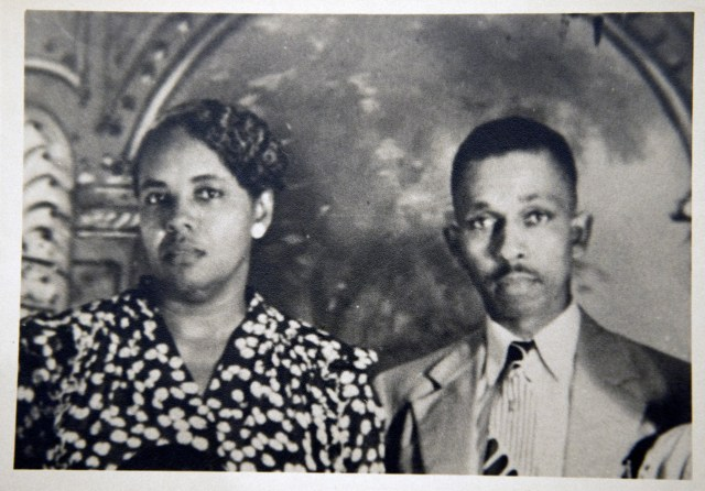 Family photo of Harry T. Moore, right, and wife Harriette, Ft. Lauderdale, late 40s.