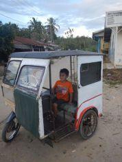 Freddie in a village-style motorbike rickshaw (North Sumatra, 2014)