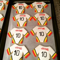 Hockey jersey cookies for a special girl celebrating her 10th birthday today.  #hbevents #hazelboivin #sugarcookies #birthday #hockey #eventplanner #birthdaylootbags