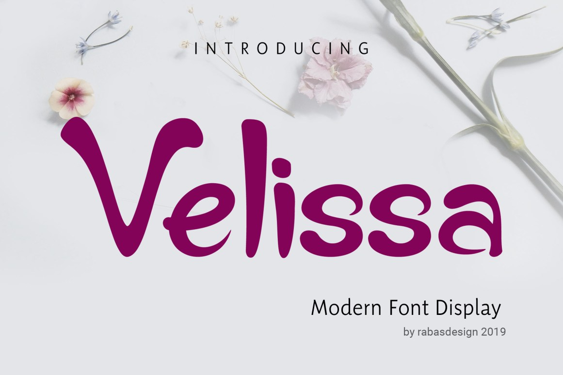The Velissa is a fresh and characterized display typeface. It's suitable to be applied in various forms of design such as fashion designs, book covers, holiday cards, logos branding, and much more!