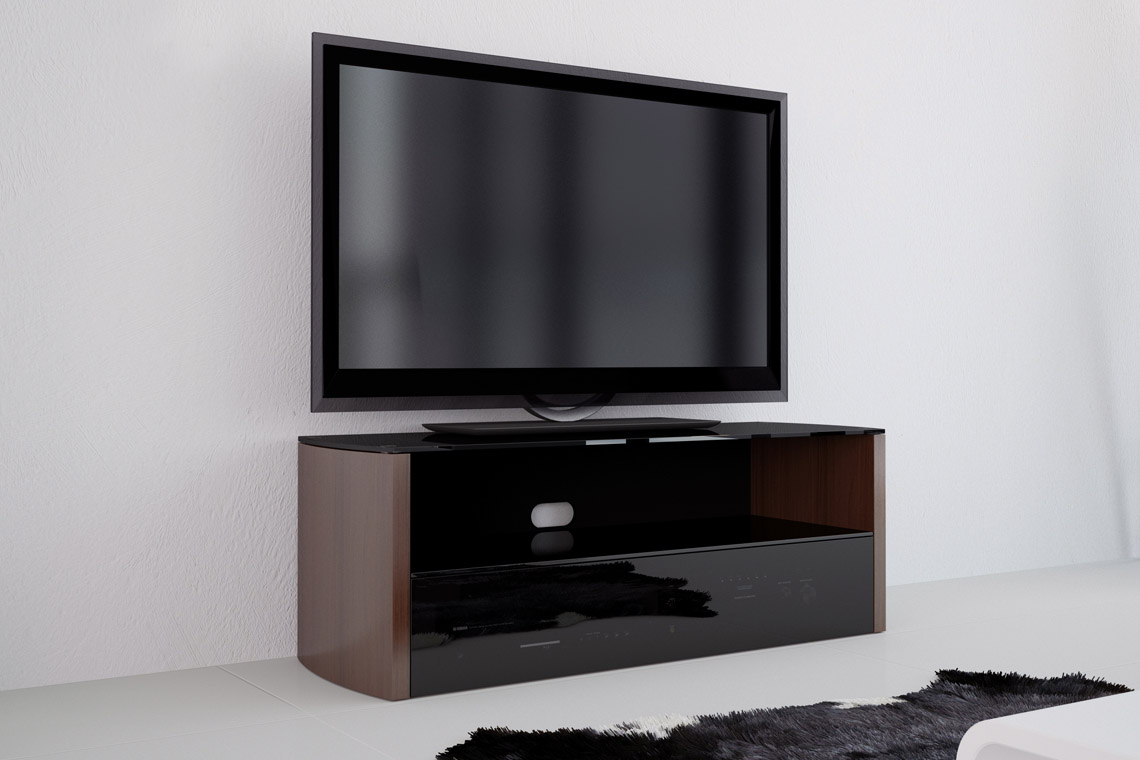 vivanco a1200w 120cm designer tv stand black walnut