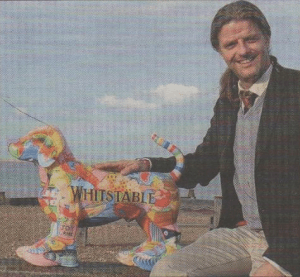 HOUND ABOUT THAT?: Artist Lloyd Hobbard-Mitchell with his Whitstable Dog