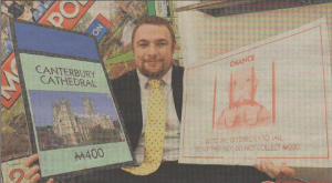 MONOPOLY APOLOGY: Monopoly manager Rob Osbourne with the corrected board
