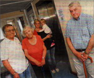 Alan Wright, Margaret Moody, Amber Hodge, Esme Russell and Jeff Leach at Elizabefh Court where residents at the high-rise building have had no lift for 10 months