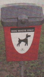 One of the dog waste bins