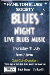 Hamilton Blues Society poster for Blues Night July 2019