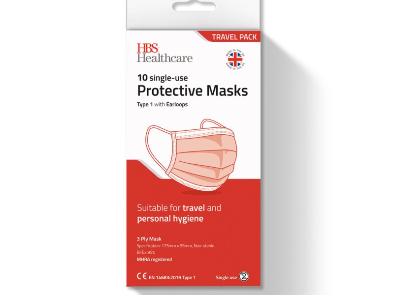 Type 1 Protective Face Masks, Travel pack