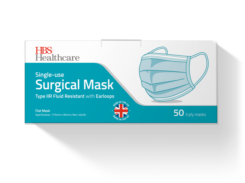 Type IIR Surgical Face Masks, Box of 50