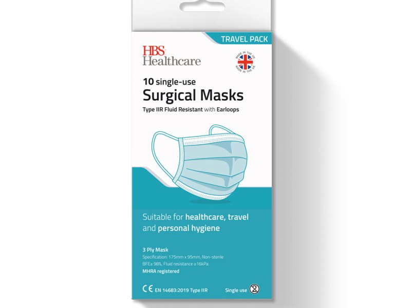 Type IIR Surgical Face Masks, Travel pack