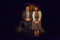 Judd Hirsch and Kathryn Danielle seated side-by-side onstage in Talley's Folly, a benefit for HB Studio, provider of NYC acting classes
