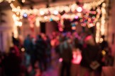 An colorful ambient shot of a party to benefit HB Studio, provider of NYC acting classes