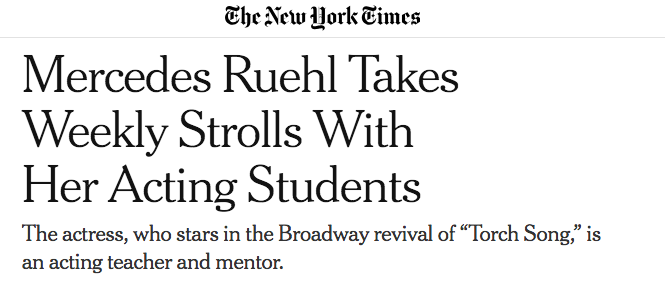 Mercedes Ruehl Takes Weekly Strolls with her Acting Students - New York Times