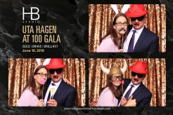 Cindy and Michael Nelson having fun in the photo booth at the Uta Hagen at 100 Gala