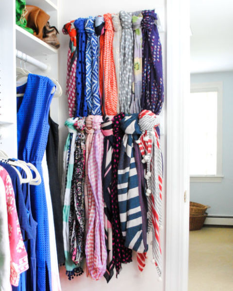 Instead of hanging your robust scarf collection on hangers and taking up valuable rod space, attach a towel bar to your wall to create a personalized display for your collection on unused wall space. See more at The Chronicles of Home »