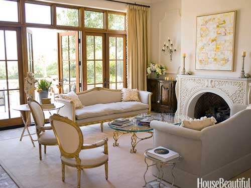 yellow white living room