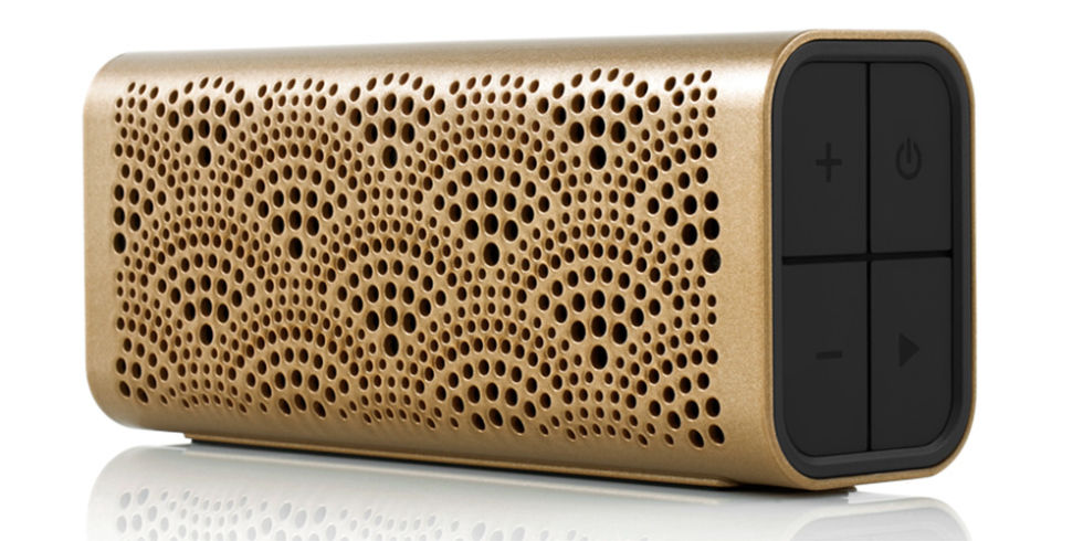 Braven's luxe wireless system gives the standard iPhone speakers a run for their money with Bluetooth technology that plays music from any device, ansers phone calls and even charges your devices with a built-in charging station. Braven Lux Wireless Bluetooth Speaker, $100, braven.com.