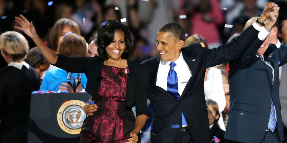 After President Obama's victory speech in Chicago, 2012
