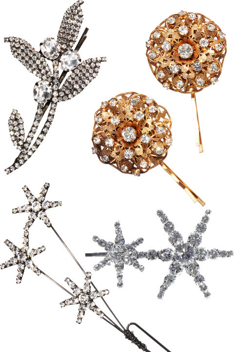 Jennifer Behr Ilsa Bobbypin, $225; Contessa Bobbypin, $225; Venus Hairpin, $152; Double Star Bobbypin, $128, all available at jenniferbehr.com.