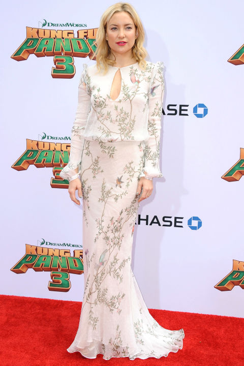 Kate Hudson inspired brides with a penchant for prints at the Kung Fu Panda 3 premiere, donning a look from Monique Lhuillier's Pre-Fall 2016 collection.   Get the Look: Monique Lhuillier embroidered floral dress, $5,495, farfetch.com.