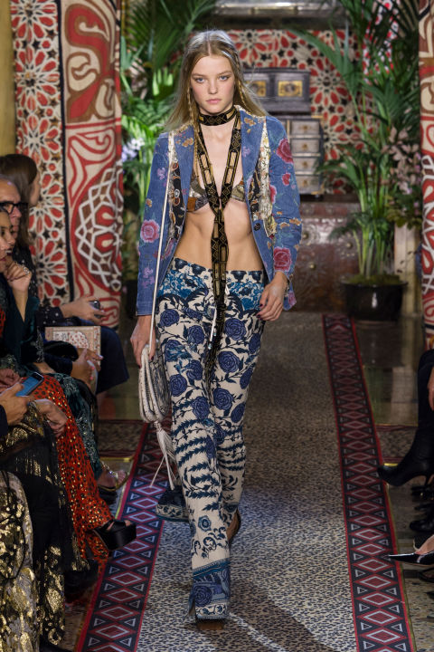 For a man who designs the ultimate in bohemian-rocker glamour, of course Roberto Cavalli's Peter Dundas would eventually tap into the rich patterns of Marrakech, Rajasthan and Istanbul. Setting his runway up like a posh souk, Dundas unleashed an army of models that looked like it could have just as easily been in the entourages of the Rolling Stones or hobnobbing with Talitha Getty.