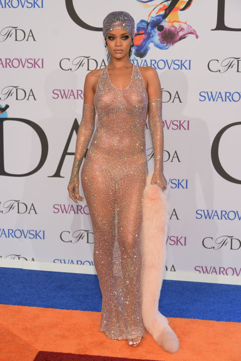 Rihanna always surprises with her original approach to style, but the sheer bejewelled dress she wore to the 2014 CFDAs shocked more than most. Part Josephine Baker, part sphinx, the pop star teamed the look with a glittering turban, a fur stole and a nude thong to hide her modesty. Rumour has it that she chose the dress to show ex-boyfriend Drake what he was missing.