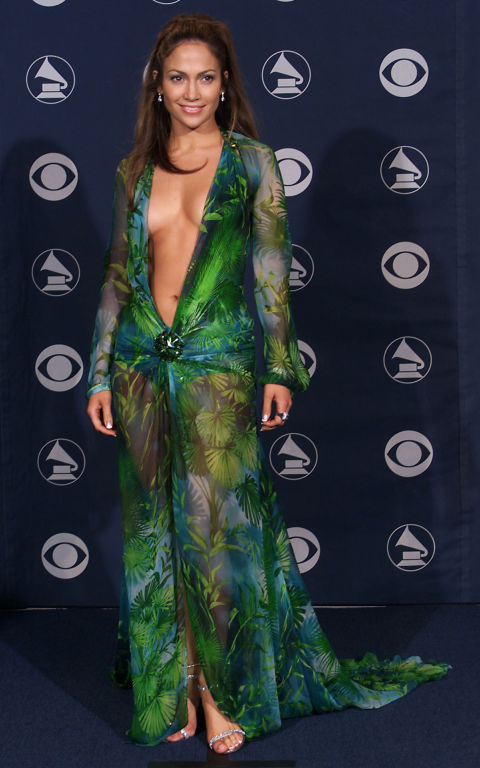The jungle-green Versace dress that Jennifer Lopez worn to the 2000 Grammys represented a turning point in Donatella Versace's career. It received international acclaim, especially after the singer revealed that she wore garment tape to ensure it stayed in position.