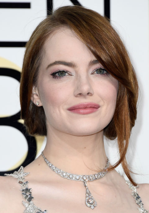 Pink and sparkly all-over, Emma Stone's beauty look was as soft and pretty as her Valentino gown (which also happened to be covered in metallic stars).