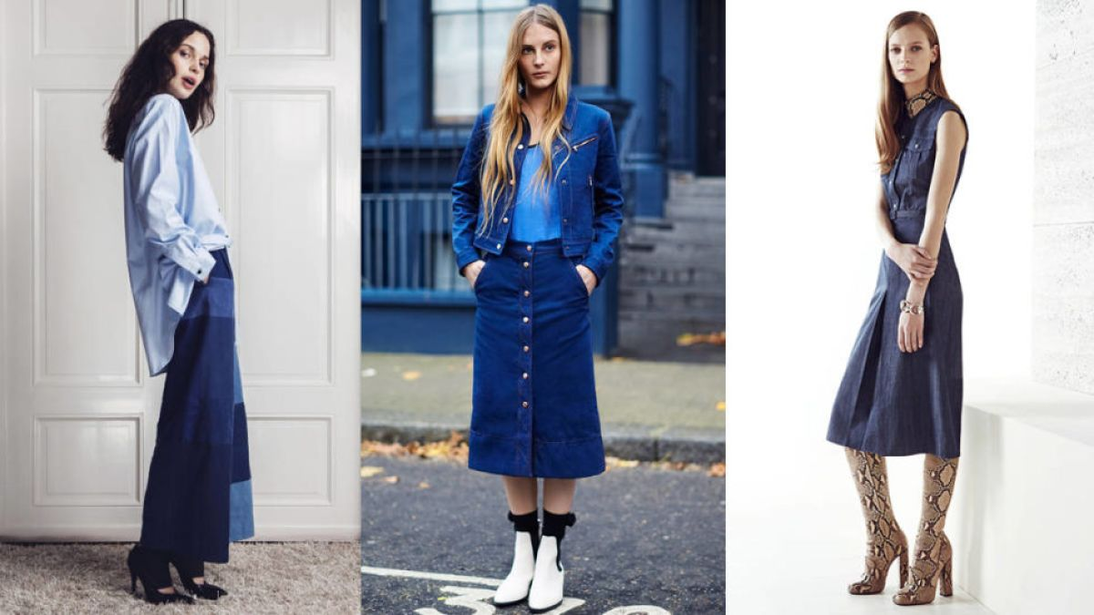 Denim is not just for jeans and jackets anymore. Skirts, dresses and jumpers are all finding their true blue form.<br /><br /><br /> (Pictured: Rodebjer, Rag & Bone, Gucci)<br /><br /><br />