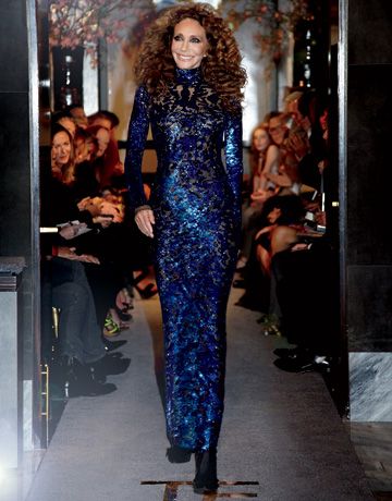 Marisa Berenson on the Tom Ford Spring 2011 runway