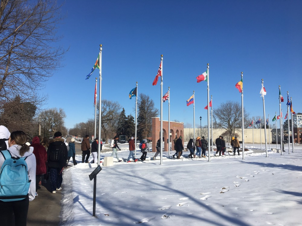 BSA members, along with other students, faculty and staff, walk around campus in observance of MLK Day.