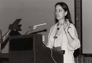 Bly speaks at the ACM CHI Conference on Human Factors in Computing Systems in Boston, MA in April 1986.