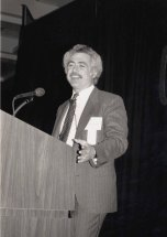 Winograd at the ACM CHI Conference on Human Factors in Computing Systems in Seattle, WA in April 1990.