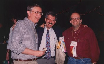 Myers with John Sibert (left) and Dan Olsen (right) at the ACM CHI Conference on Human Factors in Computing Systems in Boston, MA in April 1994.