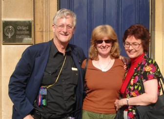 Nelson with Jennifer Preece (center) and Marlene Mallicoat (right) at the Oxford Internet Institute in June 2006.