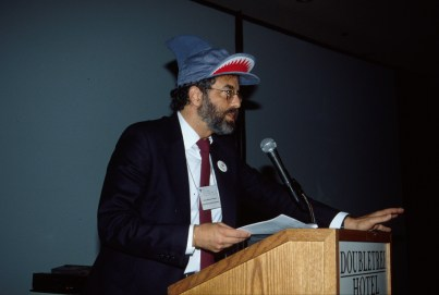 Marcus speaks at the ACM CHI Conference on Human Factors in Computing Systems in Monterey, CA in 1992.