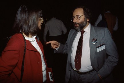 Baecker and Miriam Bareket at the ACM CHI Conference on Human Factors in Computing Systems in Toronto, Canada on April 5, 1987.