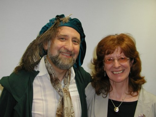 """Ben Shneiderman and Jenny Preece at the launch of Shneiderman's book, """"Leonardo's Laptop,"""" at the University of Maryland, College Park in 2002."""