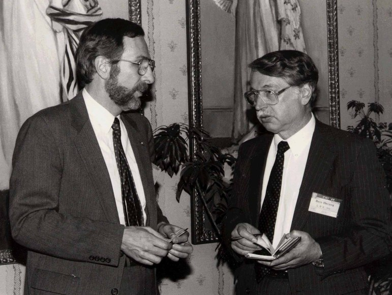 Foley and Bert Herzog at the ACM CHI Conference on Human Factors in Computing Systems in Boston, MA in April 1986.