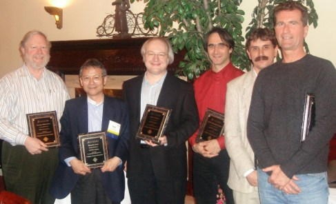 Nielsen (third from left) with George Robertson, Hiroshi Ishii, Scott Hudson, Michel Beaudoin-Lafond, and Peter Pirolli (left to right) at the ACM CHI Conference on Human Factors in Computing Systems in Montreal, Quebec, Canada in April 2006.