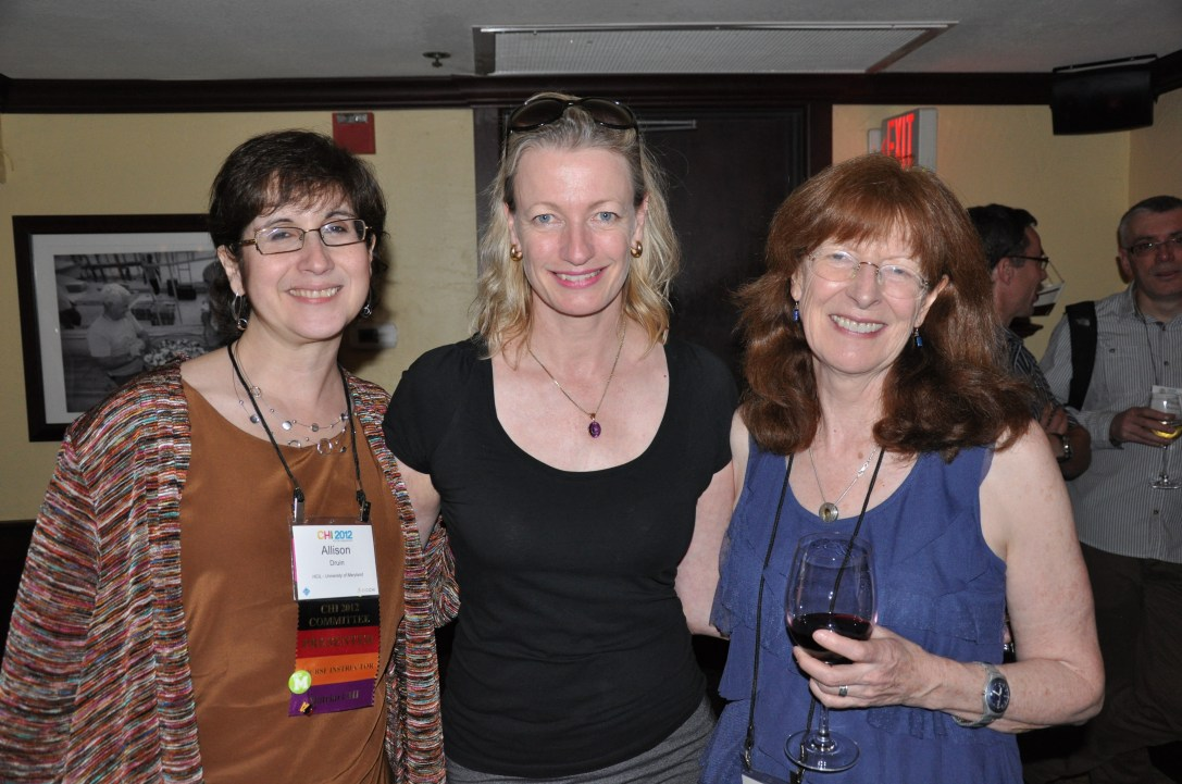 Allison Druin, Elizabeth Churchill, and Jenny Preece at the ACM CHI Conference on Human Factors in Computing Systems in Austin, TX, May 5-10, 2012.