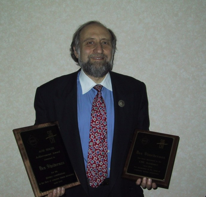 Ben Shneiderman receiving his SIGCHI Achievement Award and membership to the CHI Academy at the ACM CHI Conference on Human Factors in Computing Systems in Seattle, WA, March 31 - April 5, 2001.
