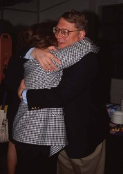 Olson embraces Judy Olson at the ACM CHI Conference on Human Factors in Computing Systems in Denver, CO in May 1995.