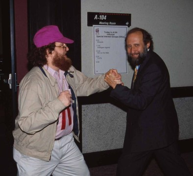 Ben Shneiderman (right) and Jared Spool enjoying their time at the ACM CHI Conference on Human Factors in Computing Systems in Denver, CO in May 1995.