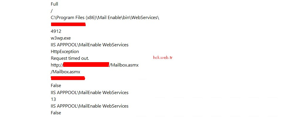 Mail Enable Web Services Request Time Out Hatası ve Çözümü