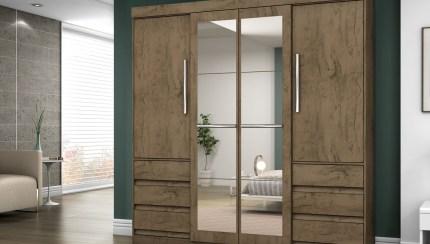 Roupeiro Casal 4 Portas 6 Gavetas Araplac Linea Com Espelho Hcompras Shopping Virtual Produtos Servicos E Cursos Digitais